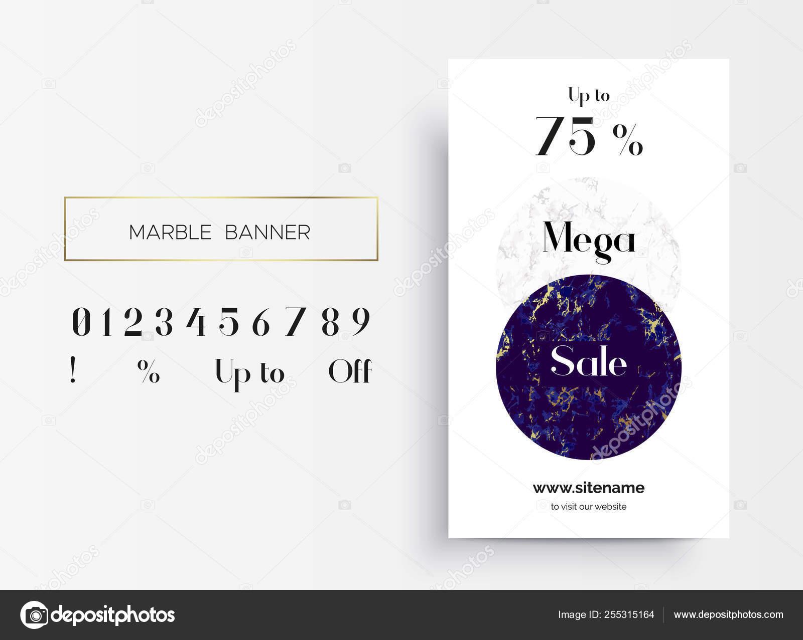 Mega Sale banner template design  Marble texture  — Stock