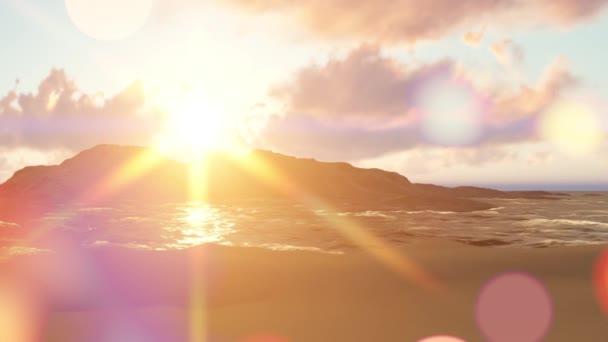 Sommerhintergrund mit Sonnenstrahlen und Wellen