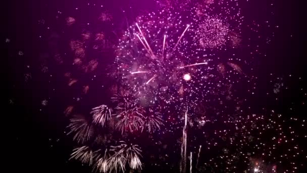 New Year fireworks purple background
