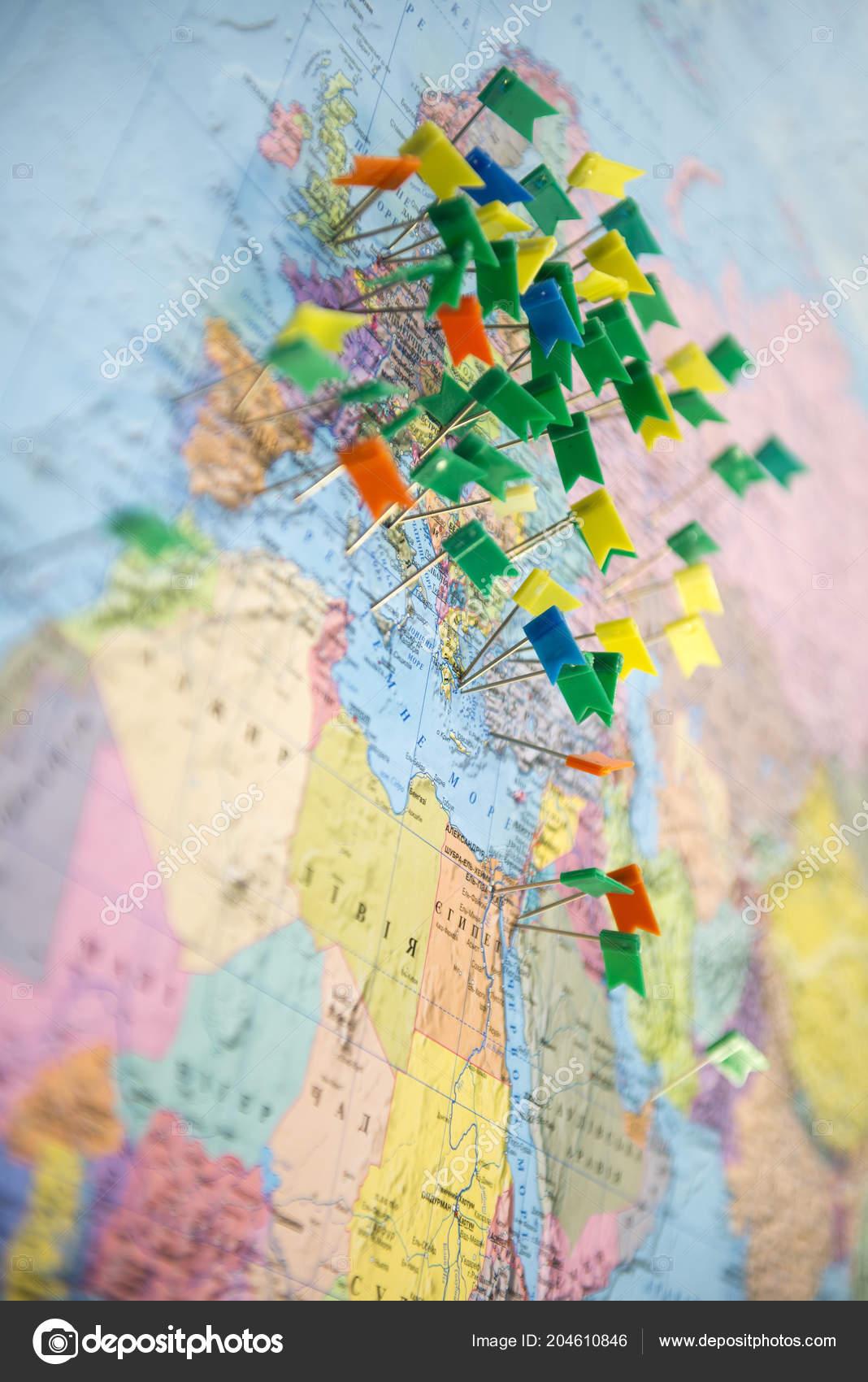 europe map pins travel your planning trip ストック写真