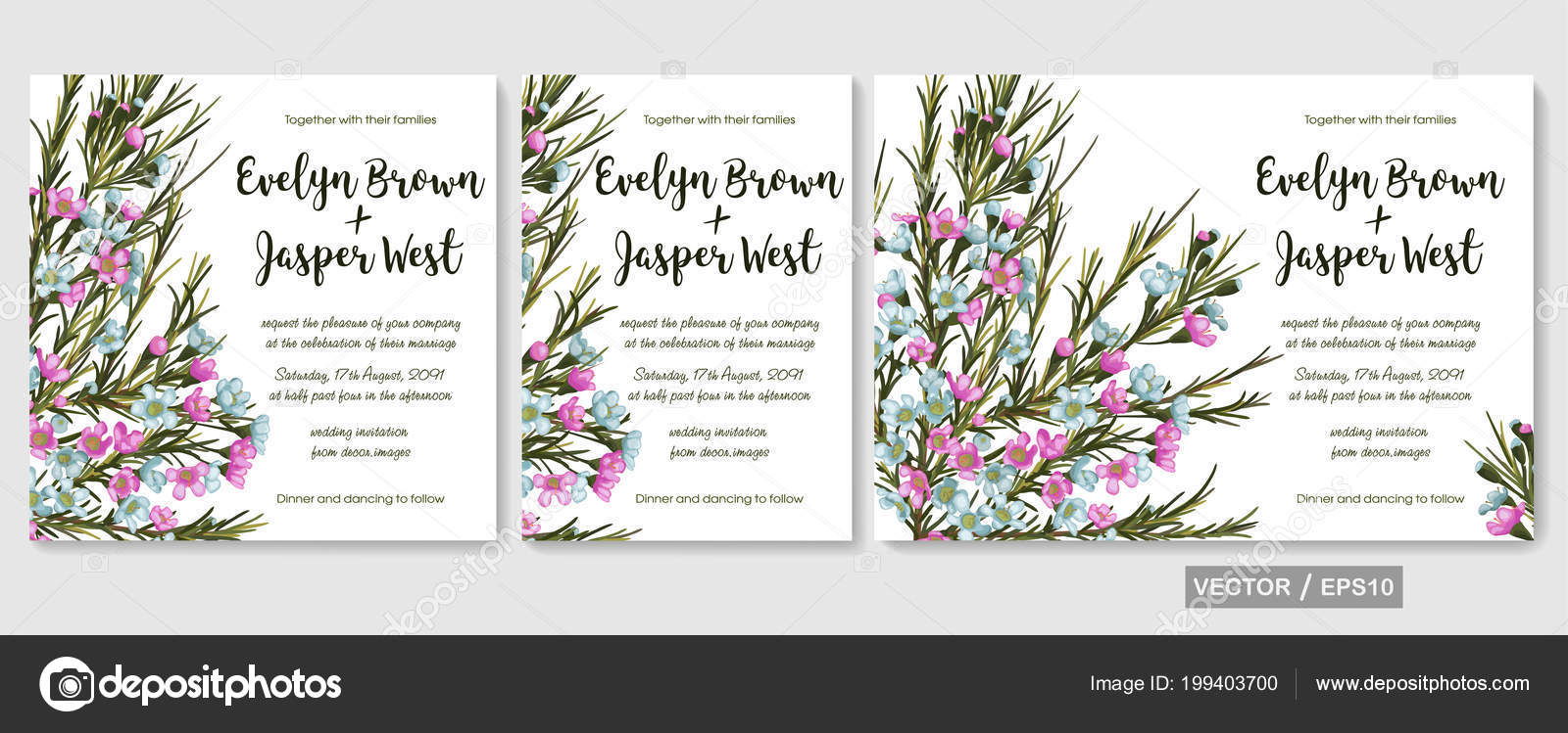 Wedding Invite Invitation Rsvp Date Card Design Elegant Pink Blue ...