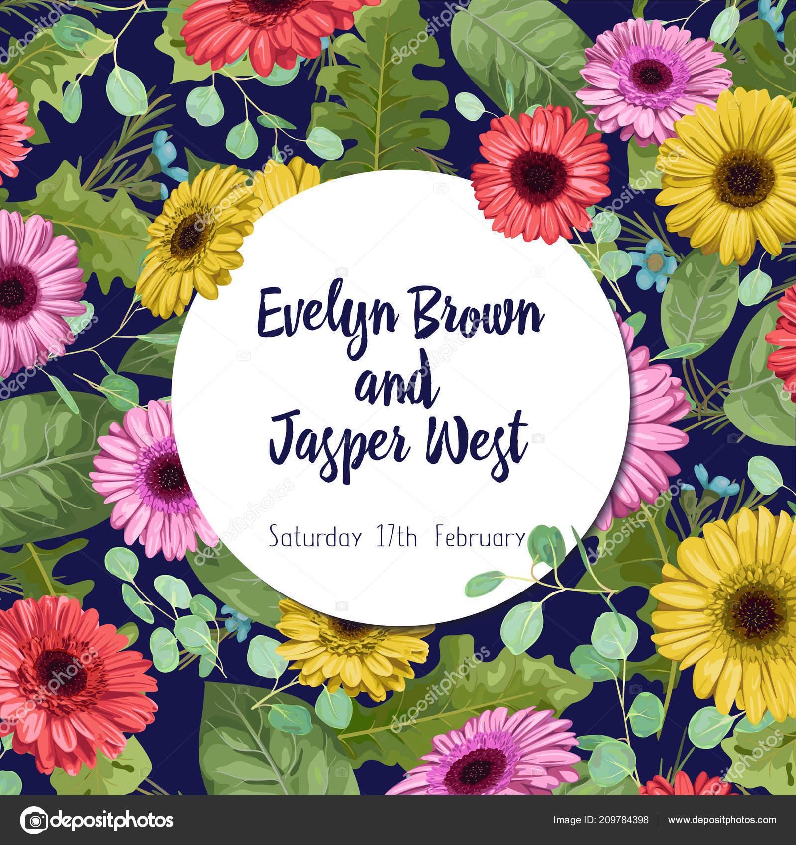 Sommer vektor aquarell farbige gerbera wachs blumen und eukalyptus zweige mit einem runden rahmen für hochzeitseinladungen banner postkarten etiketten