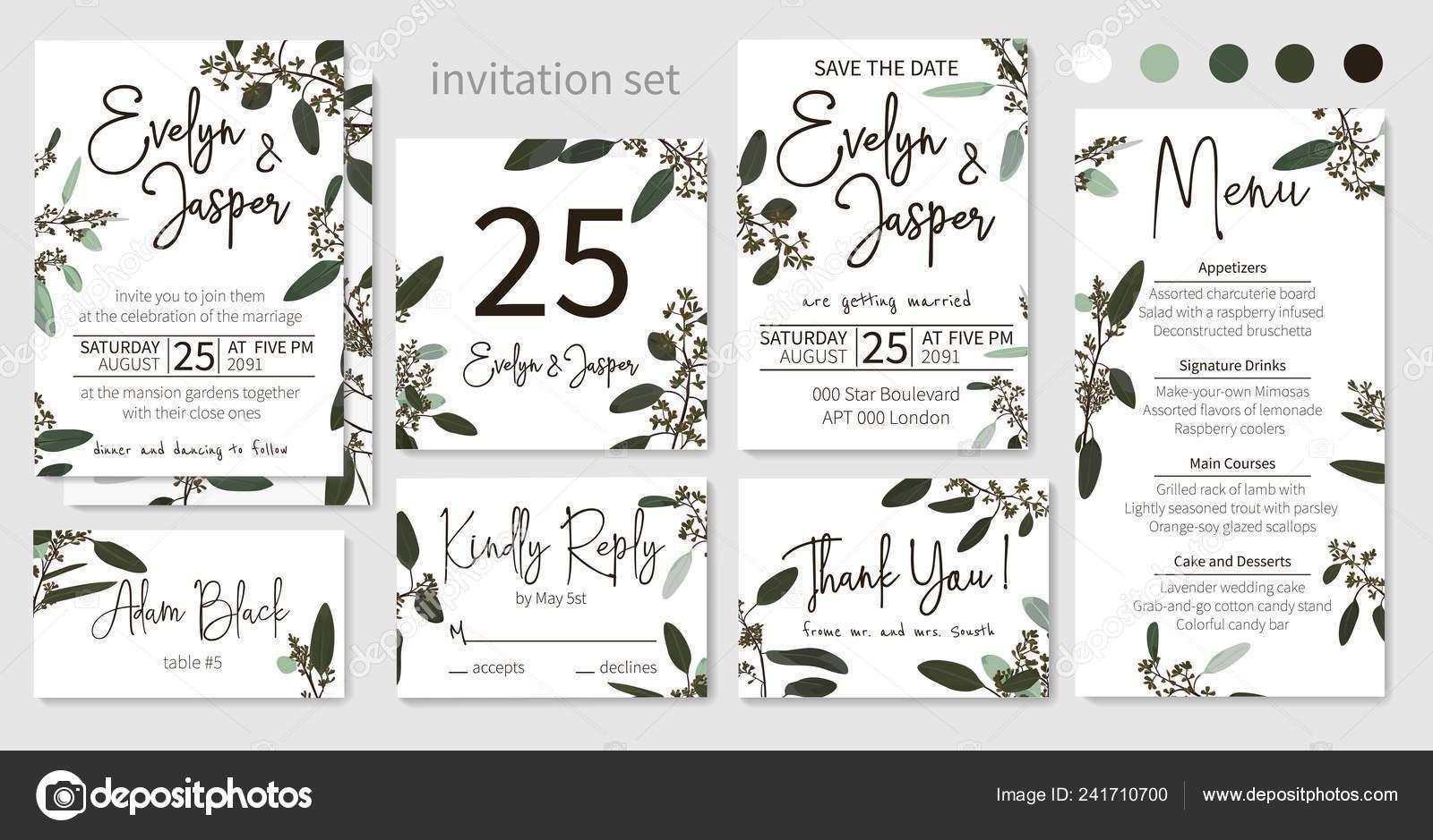 Set Invitaciones Boda Invitaciones Florales Mesa Menú