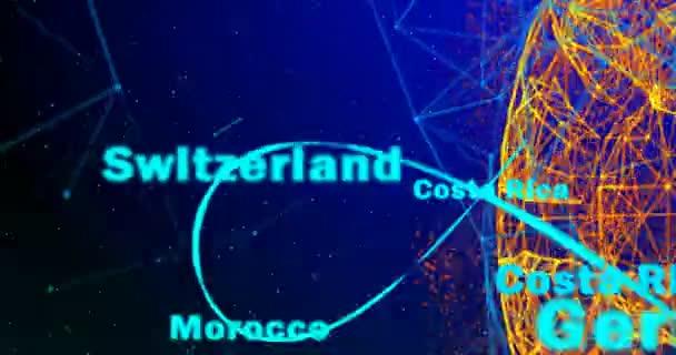 Fotbalový míč a kontinentech planety Země otáčí na přechodu pozadí, skládající se z řádků a částic a názvů států účastnících se mistrovství světa ve fotbale
