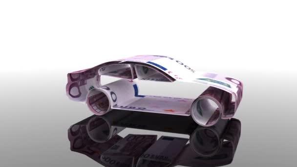 Das Auto entsteht aus Euro-Banknoten, dem Konzept der Finanzierung der Automobilindustrie, der Kreditvergabe an den Autokauf, den Barkosten für das Auto