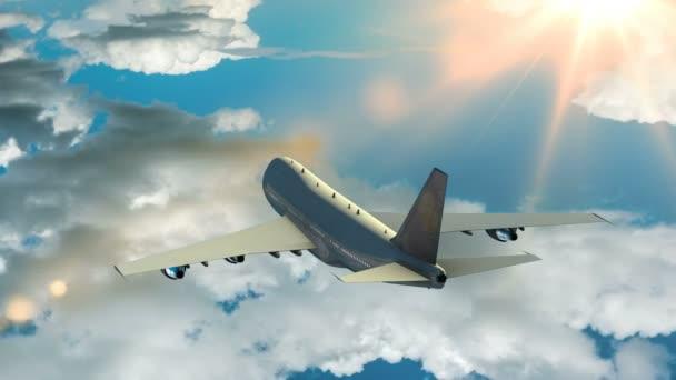 Flugzeug fliegt über den Wolken