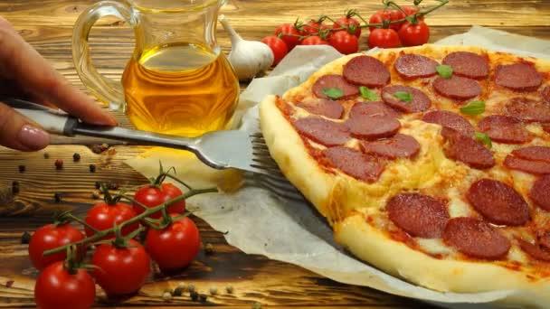 Chutná Pizza a přísady na pozadí