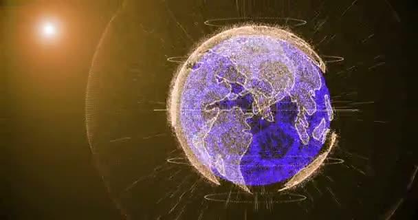Fotbalový míč a kontinentech planety Země otáčí na přechodu pozadí, skládající se z řádků a částic