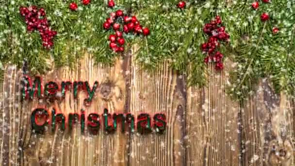 Christmas wooden table with New Year and Christmas decorations and beautiful snowfall, the concept of New Years advertising and animated New Year card