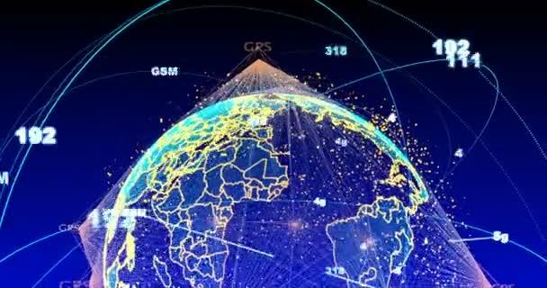 digitaler Datenglobus - abstraktes wissenschaftlich-technisches Datennetzwerk rund um den Planeten Erde, das Konnektivität, Komplexität und Datenflut des modernen digitalen Zeitalters vermittelt, Alphakanal