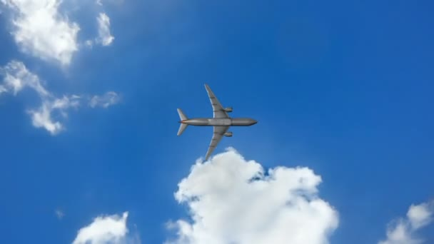 cinemagraph, Airplane fly by sunny day blue sky. loop video, Time-lapse