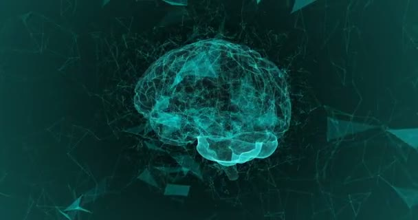 Human brain being formed by revolving particles. Plexus structure evolving around. Blue abstract futuristic science and technology motion background. alpha channel