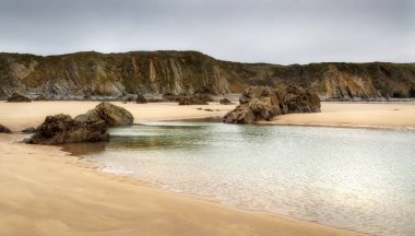 Marloes Sands Bay near Skomer island, one of the best beaches in South Wales UK