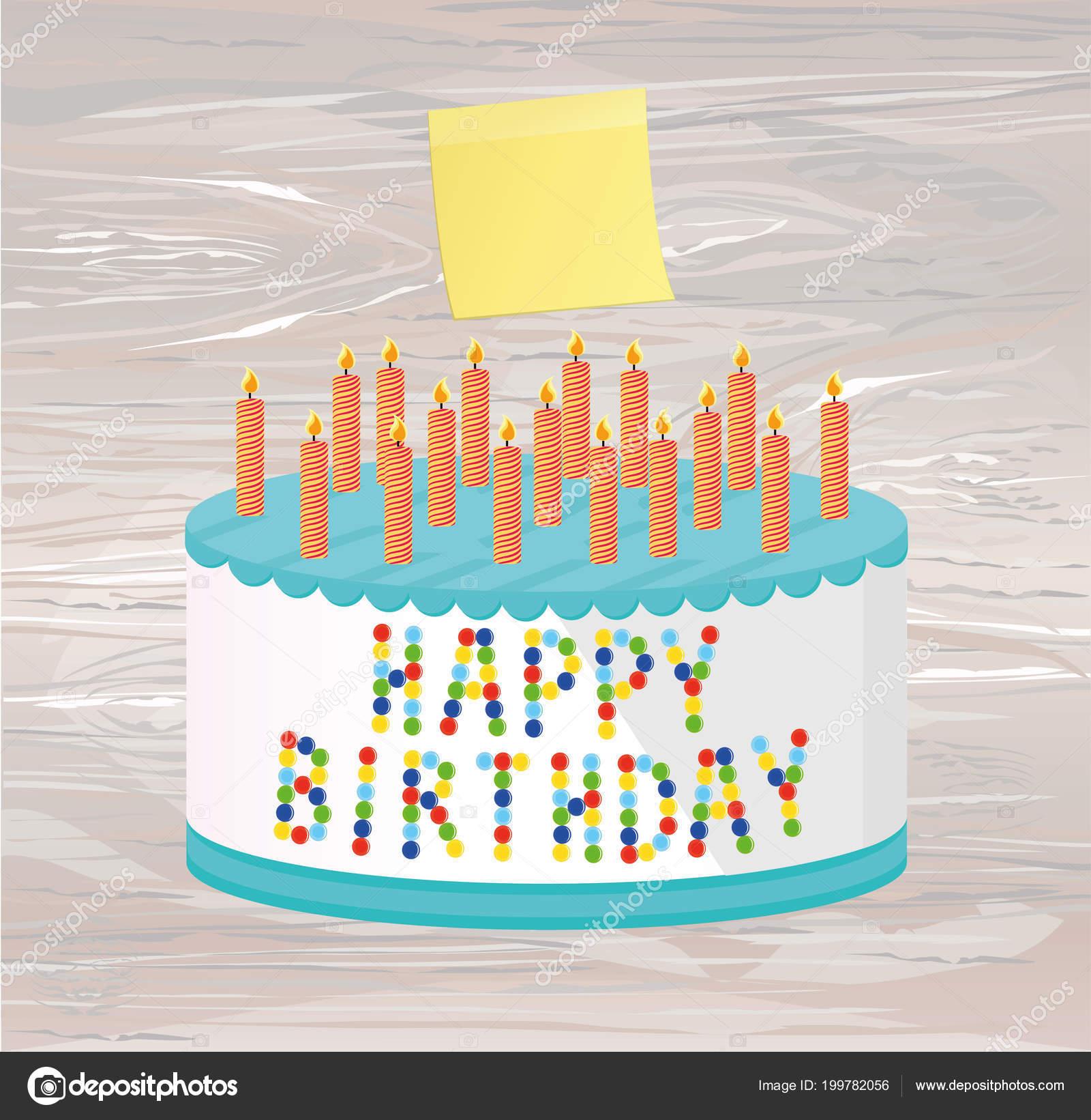 Festive Big Cake Happy Birthday Empty Yellow Sheet Paper Notes Stock Vector