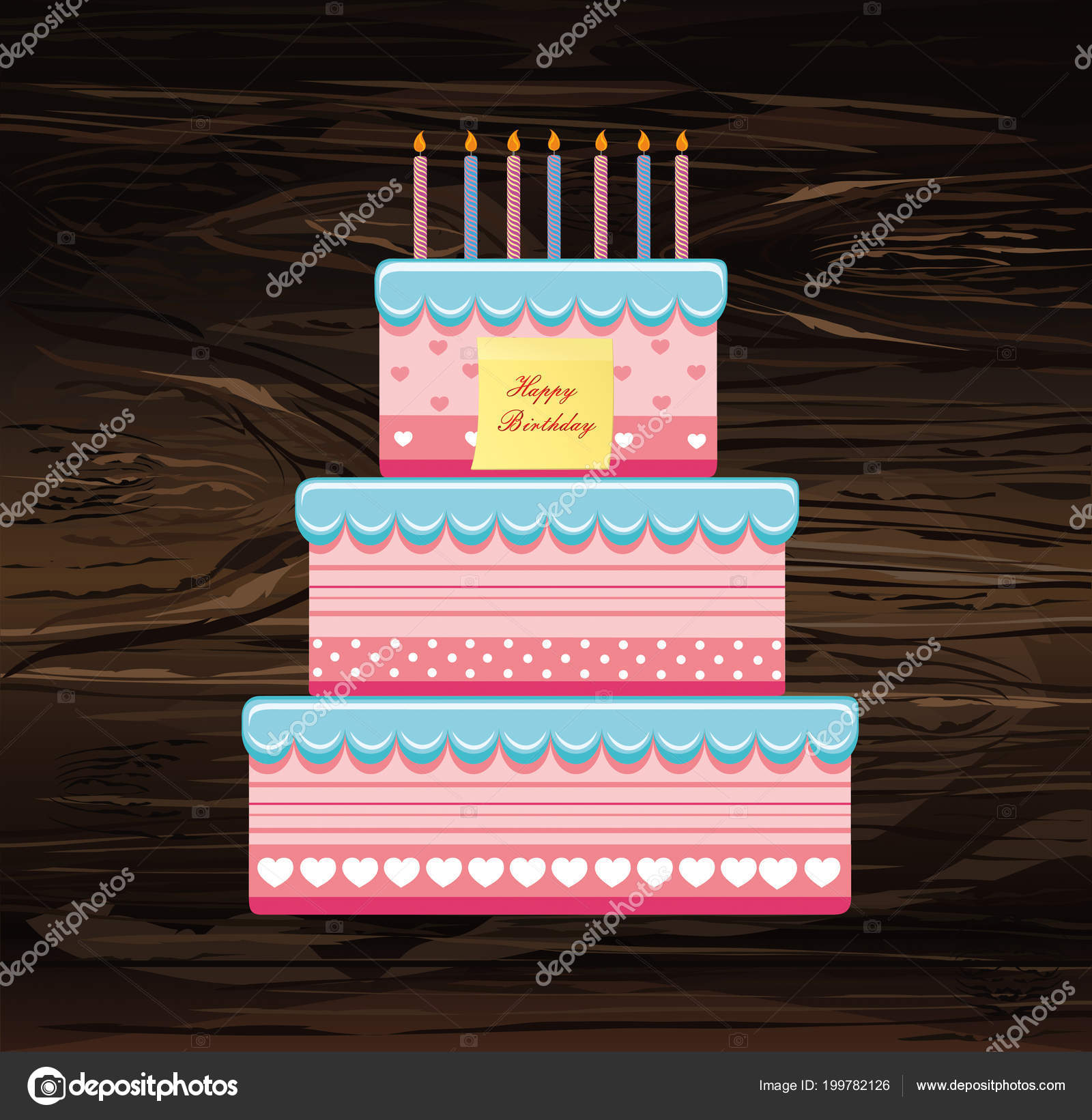 Festive Big Cake Happy Birthday Empty Yellow Sheet Paper Notes Stock Vector