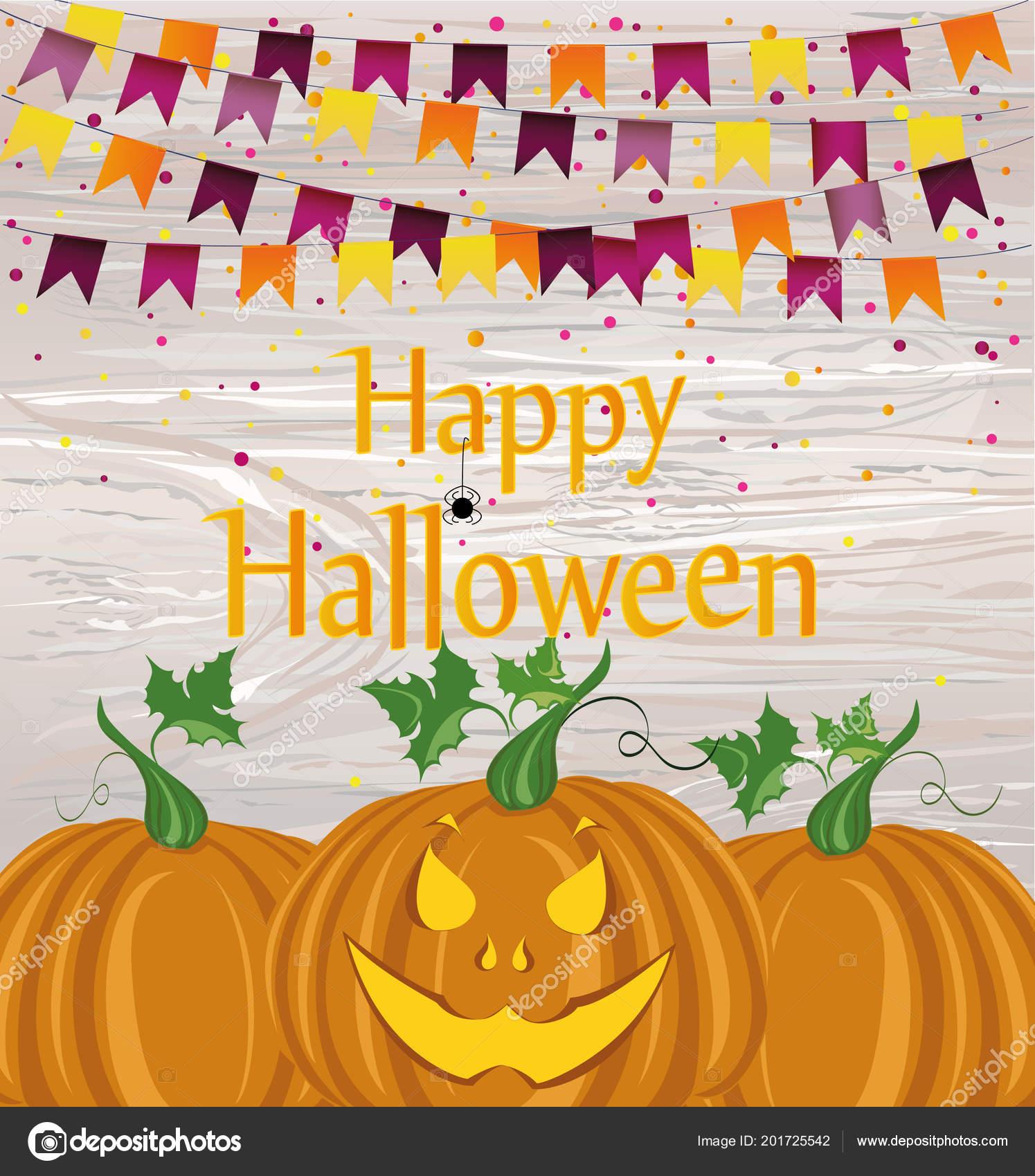 halloween carnival flags garlands pumpkins vector concept invitation