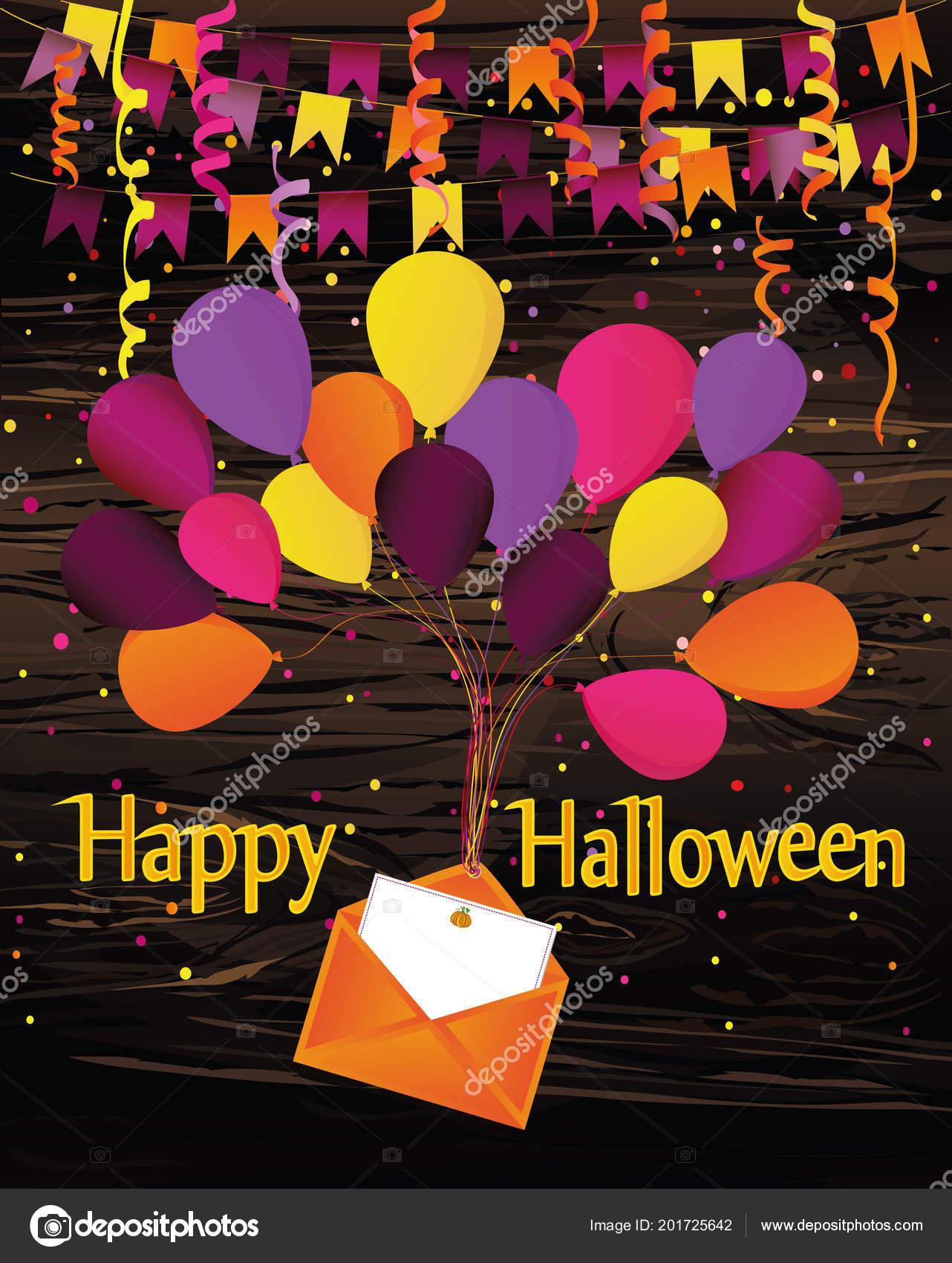Halloween Carnaval Con Banderas Guirnalda Con Globos Con