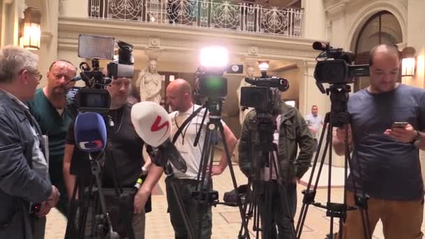 BRNO CZECH REPUBLIC, MAY 2, 2018: Cameramen people and tripods before a press conference prime minister Andrej Babis arrived for the people of Brno, professional cameras and microphones