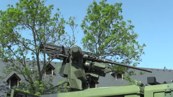 OLOMOUC, CZECH REPUBLIC, MAY 2, 2018: Lightweight armored vehicle Iveco LMV with 12.7 mm machine gun M2 M151 firepower with high firepower, dozens of vehicles deployed in Afghanistan war