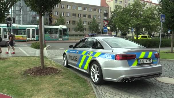 OLOMOUC, CZECH REPUBLIC, MAY 15 , 2018: Luxury police car of the Audi S6, cars used by Police Protection Service of the Czech, provides protection and security of the protected constitutional agents