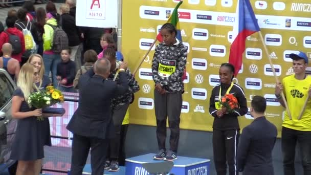 OLOMOUC, CZECH REPUBLIC, JUNE 23 , 2018: 9th half marathon of the Olomouc, award ceremony and medals, award winning women athletes Netsanet Gudeta, Aselefech Mergia, Trihas Gebre, Czech