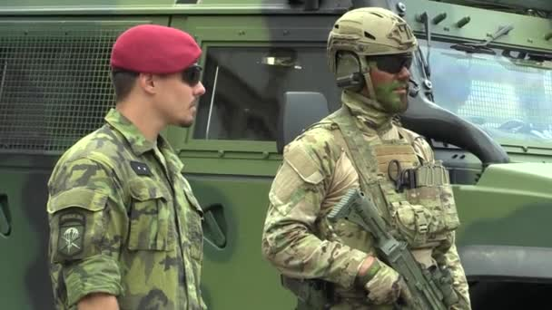OLOMOUC, CZECH REPUBLIC, JUNE 29 , 2018: The elite army troop of the Czech Republic is armed, with a modern weapon with the assault rifle BREN 805 CZ, soldiers with a uniform green mask, NATO