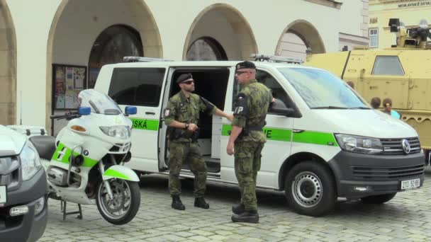 OLOMOUC, CZECH REPUBLIC, JUNE 29 , 2018: Military police and transport car and motorbike for road transport, soldier men in uniform, very authentic and real, Czech Republic, Europe