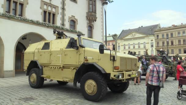 OLOMOUC, CZECH REPUBLIC, JUNE 29 , 2018: The Dingo 2 ATF CZ 4x4 vehicle is characterized by its high resistance to mines and projectiles of small arms, day of the army of the Czech Republic, people