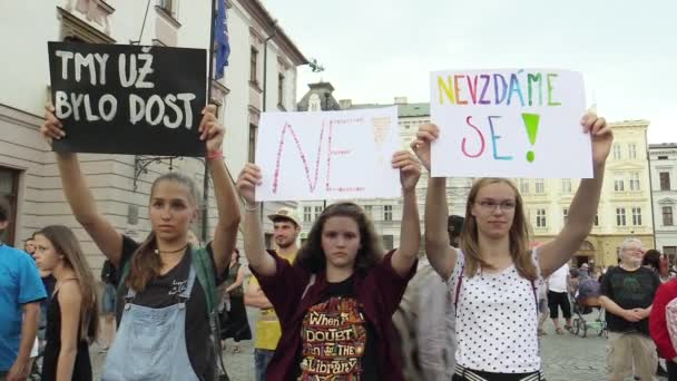 OLOMOUC, CZECH REPUBLIC, MAY 15 , 2018: Demonstration of people crowd against the Prime Minister Andrej Babis and president Milos Zeman, a banner with the darkness was enough, no, we will not give up