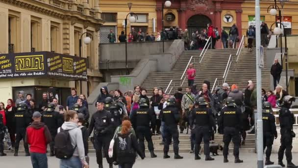 BRNO, CZECH REPUBLIC, MAY 1, 2017: Police riot unit oversees, czech activists protest first may day against extremists. Demonstration of radical extremists, suppression of democracy