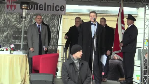MOHELNICE, CZECH REPUBLIC, NOVEMBER 9, 2017: President of the Czech Republic Milos Zeman visiting Mohelnice in the Olomouc Region, come to the podium and the health of the audience and visitors