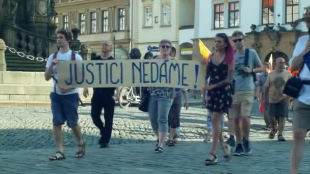 OLOMOUC, CZECH REPUBLIC, JUNE 11, 2019: Demonstration of people crowd against the Prime Minister Andrej Babis , a banner with we will protect the judiciary justice