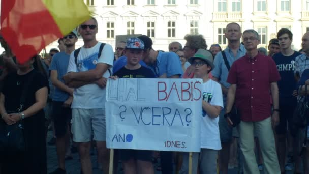 PRAGUE, CZECH REPUBLIC, JUNE 11, 2019: Demonstration of people crowd against the Prime Minister Andrej Babis, a banner with a draw with Babis lied yesterday today