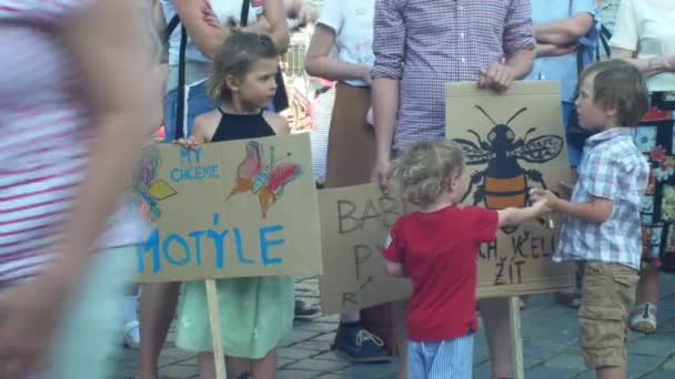 PRAGUE, CZECH REPUBLIC, JUNE 11, 2019: Demonstration of people crowd against the Prime Minister Andrej Babis, a banner I want a butterfly and let the bee live, friendly agriculture to nature