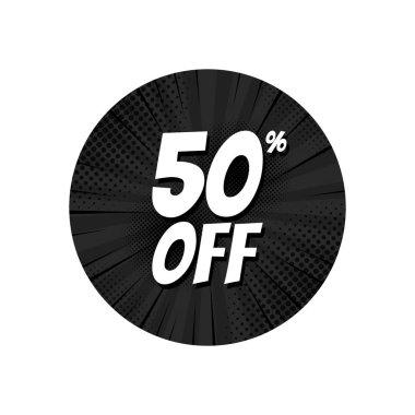 Sale 50 percent off tag, discount banner design template, pop art vector illustration