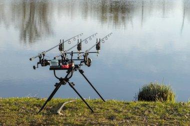 Carp fishing rods on a lake
