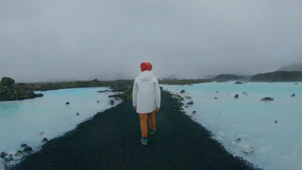 Hipster man explores iceland nature