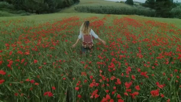 Young feminine blogger woman in flower field