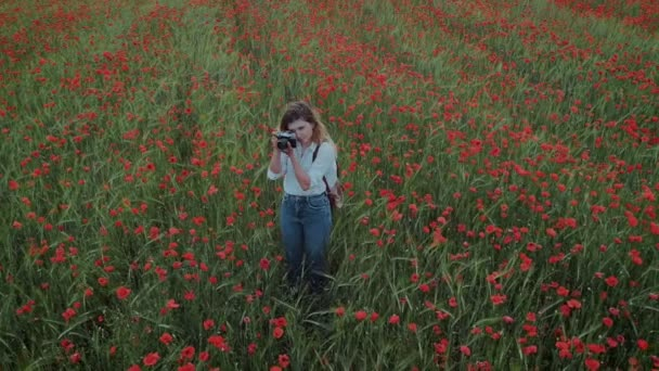 Fiatal női blogger nő virág mező