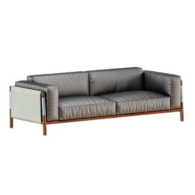 Leather soft black sofa with folds on a white background 3d