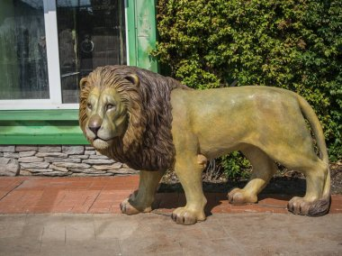 Sculpture of a lion on the street in park. Russia Sochi 06 22 2019