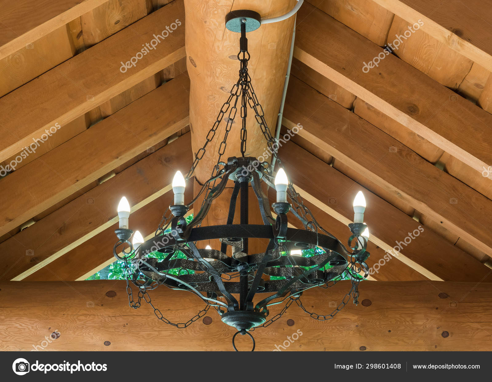 Round Black Wrought Iron Chandelier With Bulbs Weighs In Summer House Stock Photo C Jjjj 444 Mail Ru 298601408