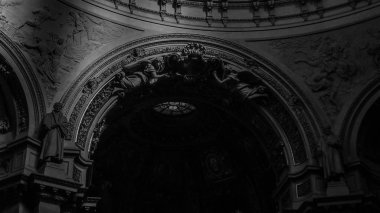 February 2018: Detail, in black and white, of the interior of the Berliner Dom. Lighting is scarce but natural February 2017 in Berlin
