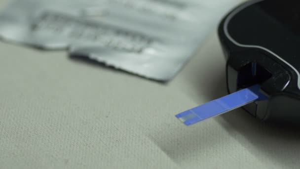 Detailní záběr makro postup měření glukózy Diabetes