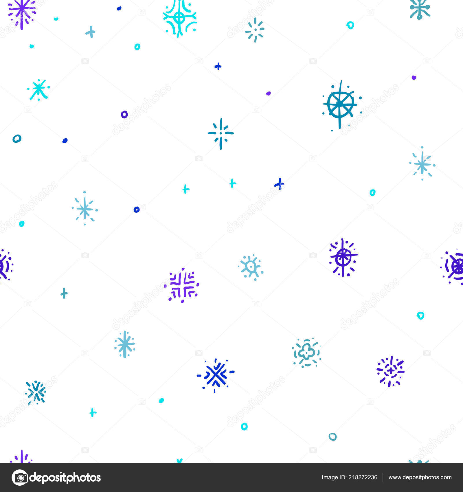 Winter Doodles Hand Drawn Snowflakes Doodles Seamless