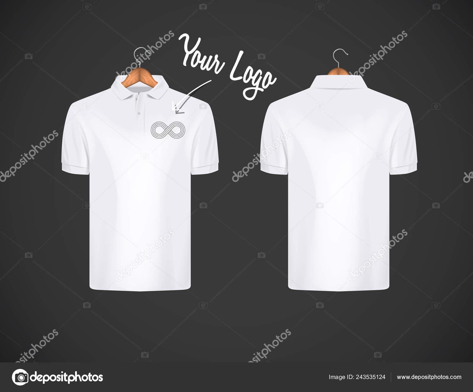 6fabb2334e Camisa de polo de los hombres delgado-guarnición de manga corta con logo  para publicidad. Camisa polo blanca con plantilla de diseño de maqueta  aislada de ...
