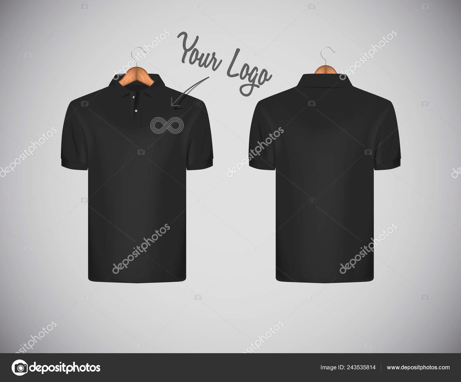 96d114a811 Camisa de polo de los hombres delgado-guarnición de manga corta con logo  para publicidad. Camisa negra polo en plantilla de diseño de maqueta de  suspensión ...