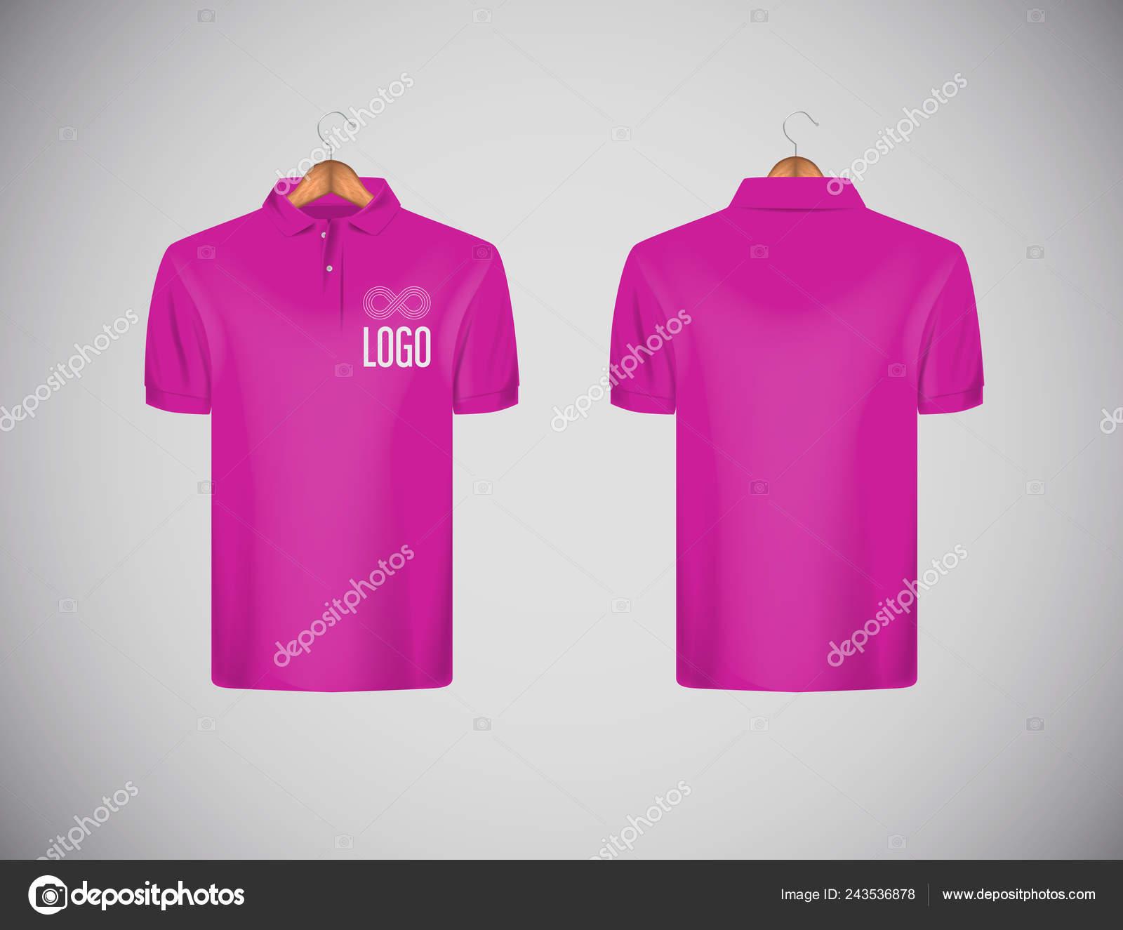 d0d2f00a1b Camisa de polo de los hombres delgado-guarnición de manga corta con logo  para publicidad. Camisa polo rosa con plantilla de diseño de maqueta  aislada de ...
