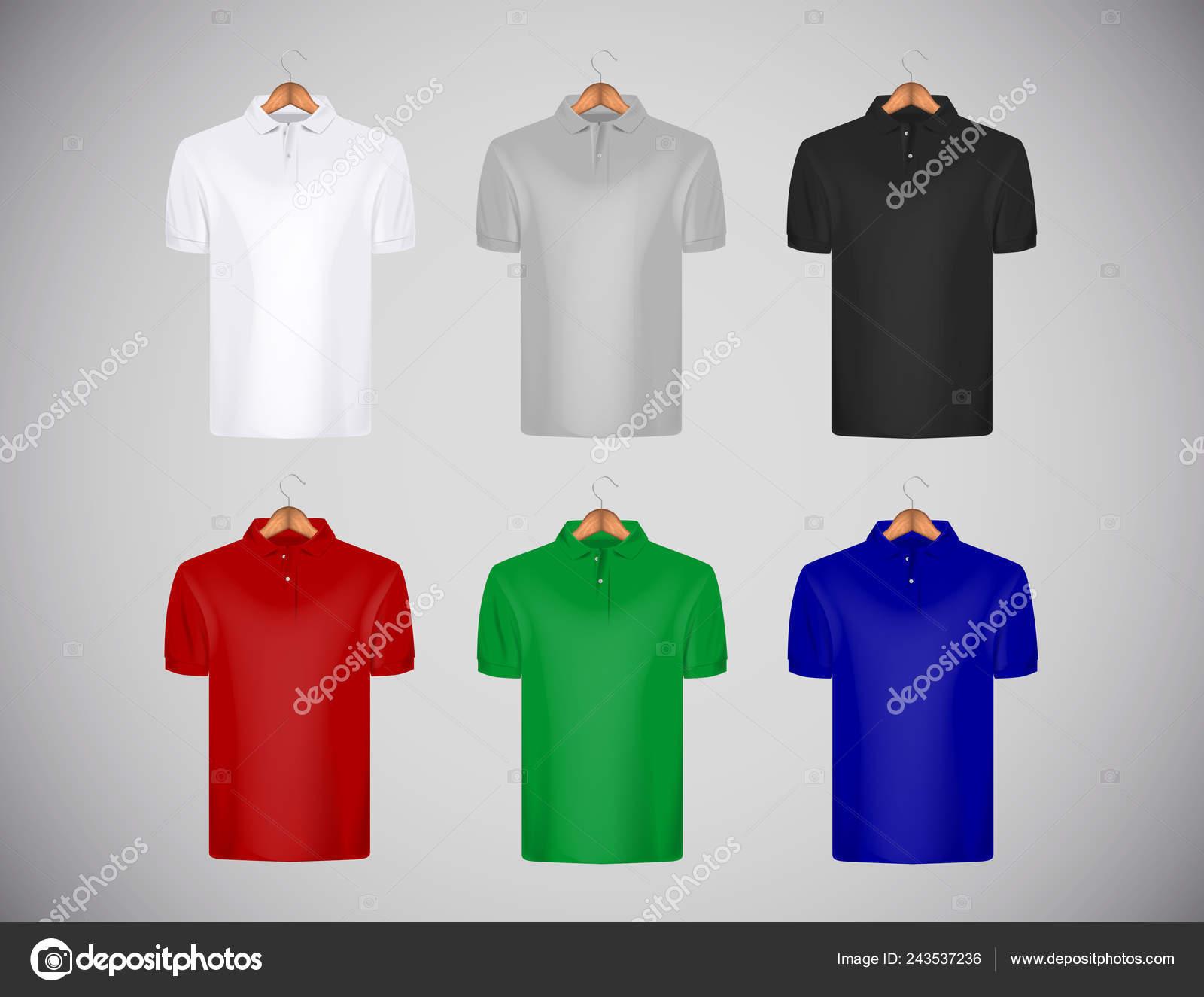 32c4f09c40 Colección de plantilla de la camisa de polo de hombre en colores de camisa  de polo de manga corta de la delgado-guarnición. Plantilla de diseño de  maqueta ...