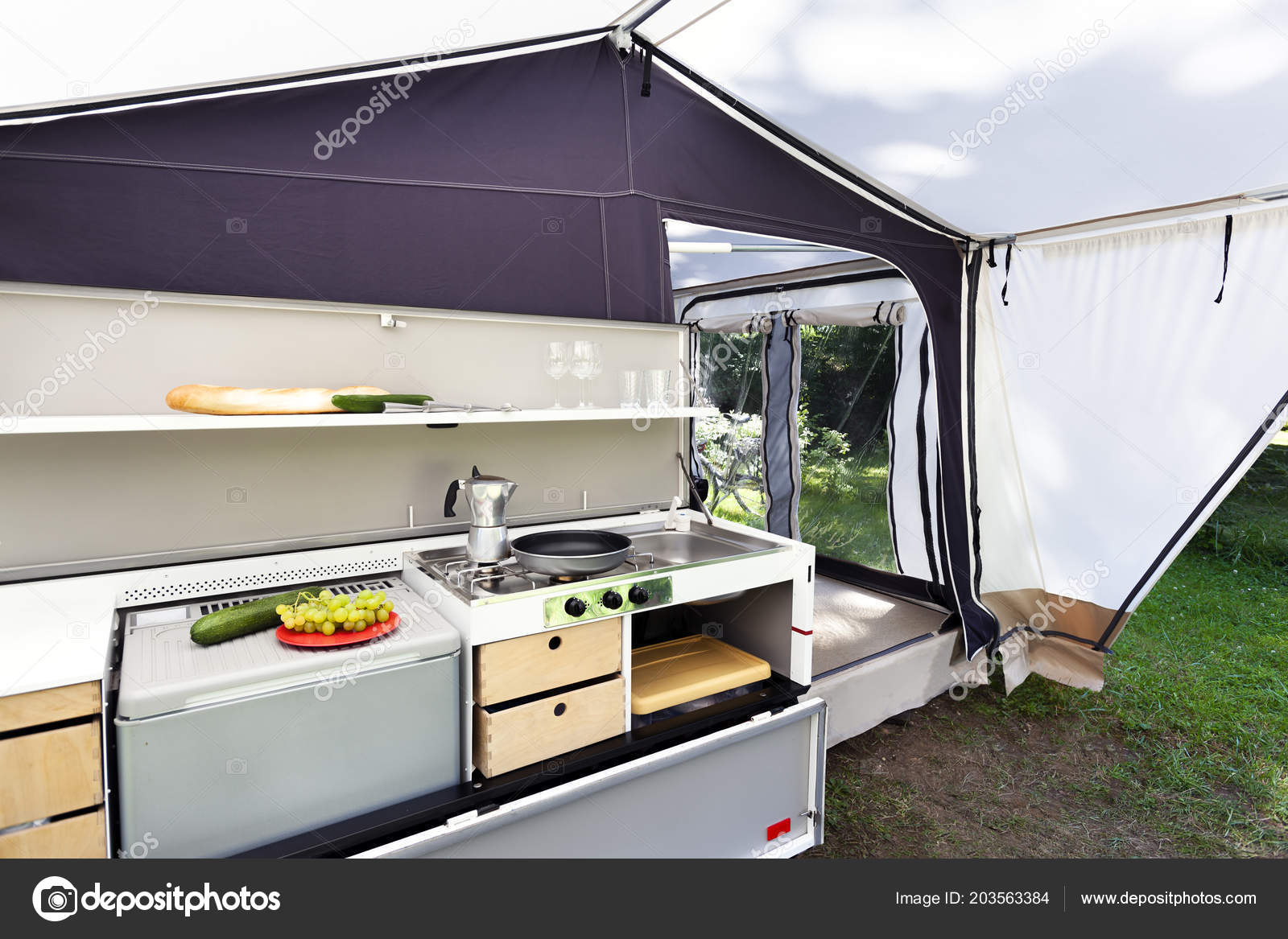 Camping Glamping Kitchen Tent — Stock Photo © kievith #203563384
